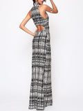 ByChicStyle Hollow Out Printed Sexy Band Collar Maxi-dress - Bychicstyle.com
