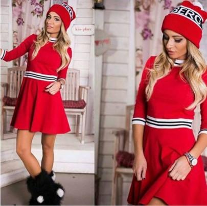 Casual New Women Red Striped Round Neck 3/4 Length Sleeve Mini Dress