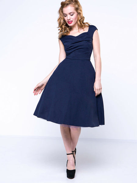 Sweet Heart Plain Pleated Bodice Skater Dress - Bychicstyle.com