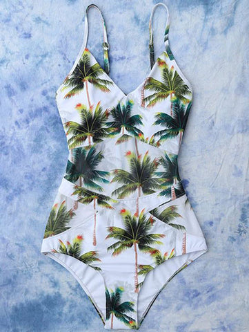 Casual Deep V neck Coconut Tree Vibes Floral Print One Piece Bikini