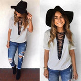 ByChicStyle Grey-Black Patchwork Hollow-out Deep V-neck Short Sleeve Casual T-Shirt
