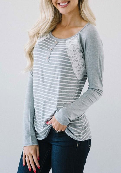 Grey Striped Print Lace Buttons Round Neck Long Sleeve T-Shirt