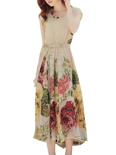 Casual Elegant Round Neck Chiffon Floral Printed Maxi Dress