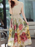 ByChicStyle Casual Elegant Round Neck Chiffon Floral Printed Maxi Dress