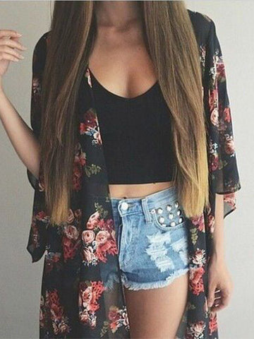 Casual Floral Print Fashion Over Size Top