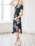 ByChicStyle Casual Daily Round Neckline Black Floral Print Dress