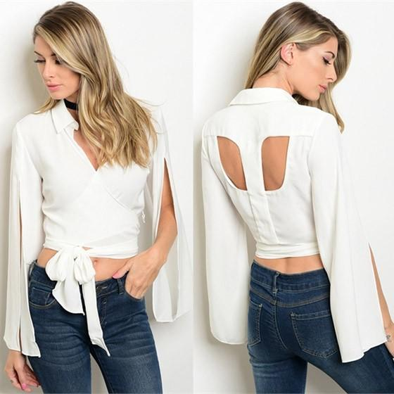 White Irregular Cut Out Backless Slit Lace-up Turndown Collar Elegant Blouse