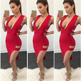 ByChicStyle Red Plain Cut Out Zipper Plunging Neckline Midi Dress