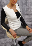 ByChicStyle White Patchwork Zipper PU Leather Round Neck Long Sleeve Coat