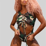 ByChicStyle Army Green Camo Print Cut Out Drawstring Zipper Lace-up One Piece Beachwear Swimwear