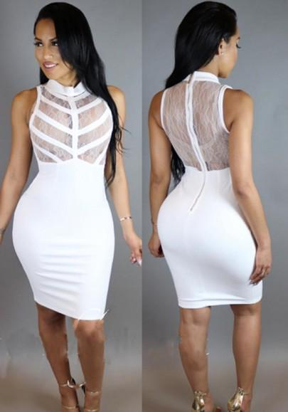 Casual New Women White Plain Lace Round Neck See Through Night Club Bodycon Dress