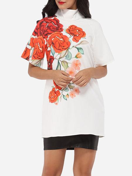 Casual Band Collar Dacron Floral Printed Short-sleeve-t-shirt