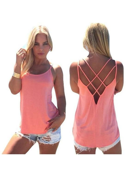 Pink Cross Back Backless Round Neck Sleeveless T-Shirt