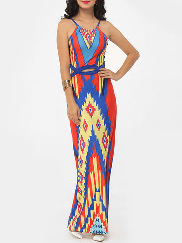 Casual Assorted Colors Color Block Geometric Hilum Hollow Out Printed Chic Spaghetti Strap Maxi-dress