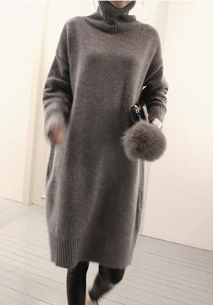 Grey Draped Oversize High Neck Long Sleeve Pullover Sweater Midi Dress