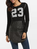 ByChicStyle Casual Pockets Round Neck Worsted Patchwork Printed Sweatshirt