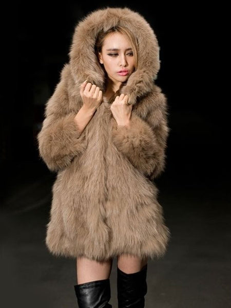 Faux Fur With Pockets Comfortable Hooded Overcoats - Bychicstyle.com