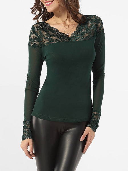 V Neck Hollow Out Lace Patchwork Plain Blouse - Bychicstyle.com