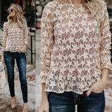 ByChicStyle Apricot Galaxy Print Cut Out Round Neck Sweet Blouse