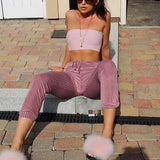 ByChicStyle Pink Plain Draped Drawstring Waist Casual Nine's Pants