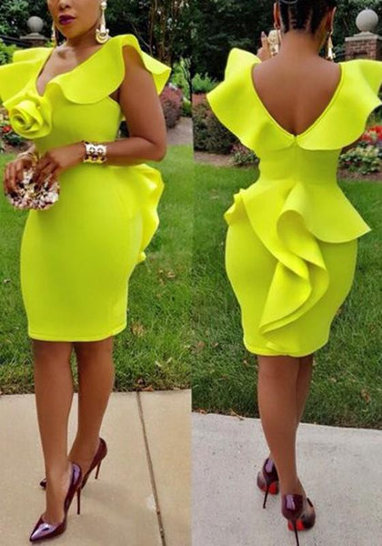 Yellow Cascading Ruffle Backless Peplum Deep V-neck Bodycon Cocktail Party Midi Dress