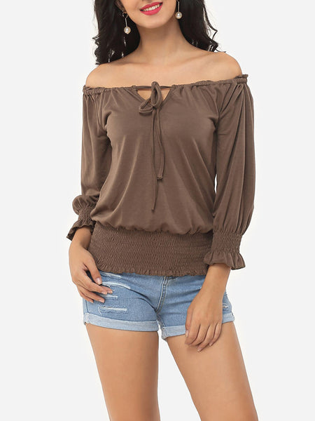 Casual Plain Bowknot Puff Sleeve Delightful Off Shoulder Casual-t-shirt