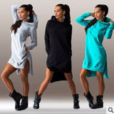 ByChicStyle Casual 2018 Women Fashion Long Sleeve Hoodies Hooded Dress Pullover Sweatshirt Coat