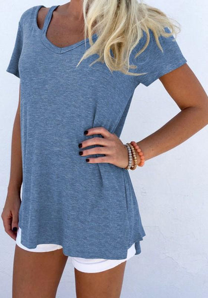 Cowboy Blue Hollow-out V-neck Short Sleeve Casual Blouse