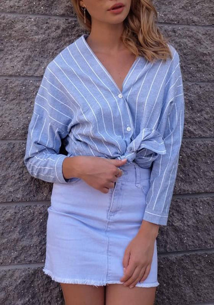 Blue Striped V-neck Irregular Buttons Long Sleeve Fashion Blouse