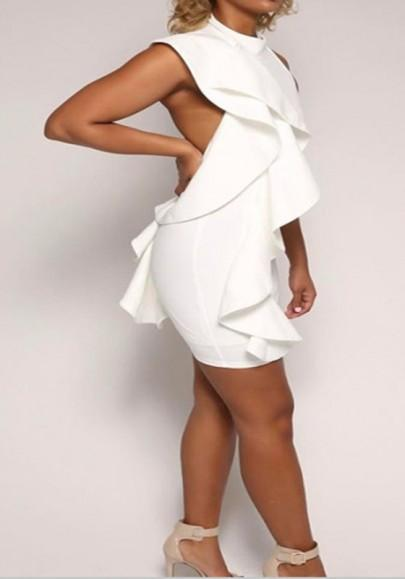 Casual New Women White Plain Ruffle Halter Neck Backless Bodycon Homecoming Mini Dress