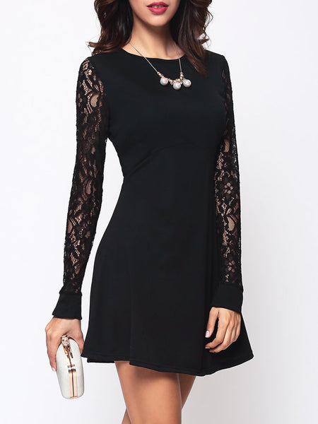 Lace Patchwork Concise Crew Neck Skater-dres - Bychicstyle.com