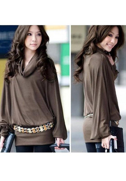 Coffee Plain Draped Collar Long Sleeve Fashion T-Shirt