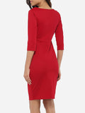 ByChicStyle Bowknot Round Neck Dacron Plain Bodycon Dress - Bychicstyle.com
