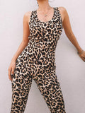 ByChicStyle Sports Leopard Print Cross Strappy Jumpsuits