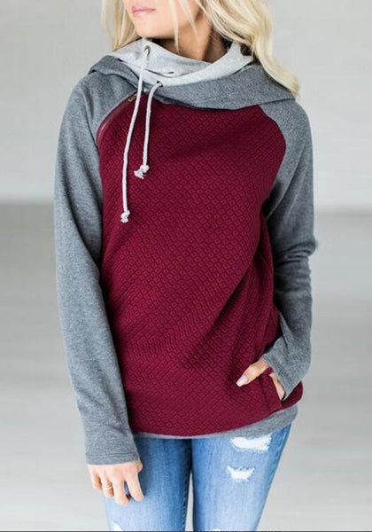 Red-Grey Patchwork Drawstring Zipper Pockets Casual Hooded Sweatshirt