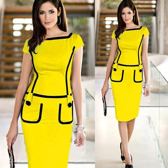 Yellow Patchwork Pockets Buttons Zipper Short Sleeve Fashion Midi Dress