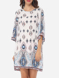 ByChicStyle Tribal Printed Loose Fitting Round Neck Shift-dress - Bychicstyle.com