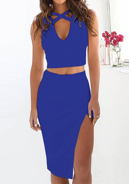 Sapphire Blue Patchwork 2-in-1 Cut Out Irregular V-neck Midi Dress