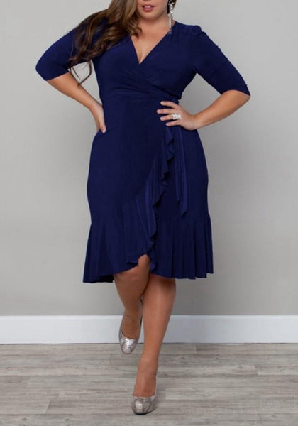 Navy Blue Ruffle Irregular Plus Size Deep V-neck Party Midi Dress