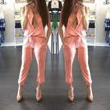 ByChicStyle Pink Pockets Drawstring Waist Sleeveless Slim Long Jumpsuit