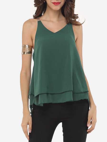 Casual Plain Chain Racerback Charming V Neck Sleeveless-t-shirt