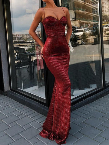 Red Striped Sequin Mermaid Homecoming Party Spaghetti Strap Backless Christmas New Year Elegant Maxi Dress