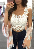 ByChicStyle White Floral Cut Out Lace Fashion Vest