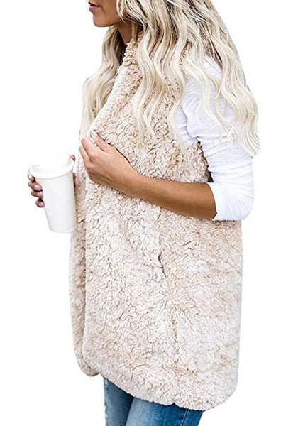 White Fuzzy Teddy Pockets Hooded Fashion Cardigan Cashmere Vest
