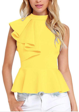 Yellow Ruffle Pleated Peplum Zipper Band Collar Sleeveless Banquet Party Sweet Blouse