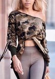 Army Green Camouflage Cross Drawstring Asymmetric Shoulder Lace-up Casual Pullover Sweatshirt