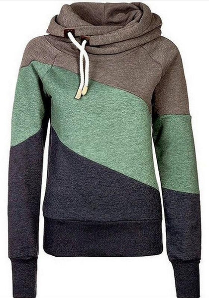 Khaki Color Block Drawstring Casual High Neck Layer Hooded Sweatshirt