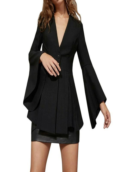 ByChicStyle Black Buttons Ruffle Peplum Bell Sleeve V-neck Fashion Suits