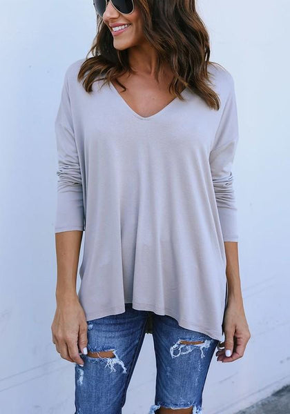 Grey Plain Cut Out Irregular V-neck Long Sleeve Casual T-Shirt
