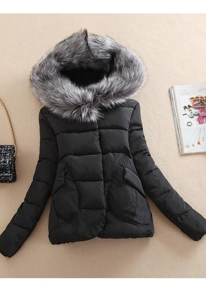 Black Patchwork Pockets Buttons Zipper Fur Collar Hooded Padded Coat